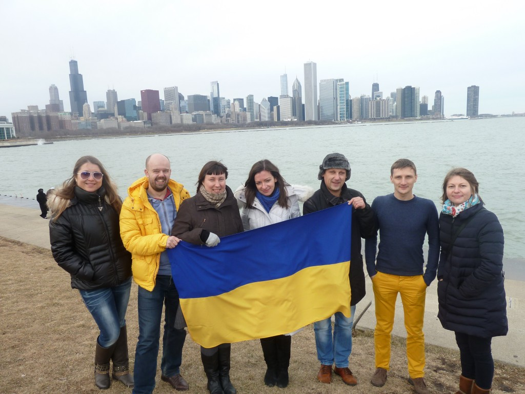 Ukrainian journalists visit Chicago as part of the Open World Program hosted by ICEA. December 2014.