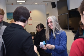 Exchanging business cards with Susan McBride